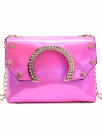 lovely Trendy Chain Strap Pink Crossbody Bag