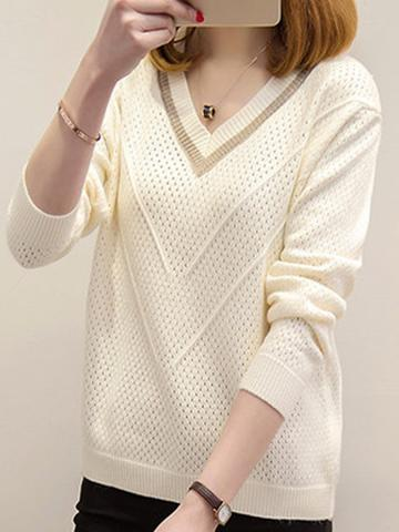 V Neck  Patchwork  Elegant  Long Sleeve  Knit Pullover
