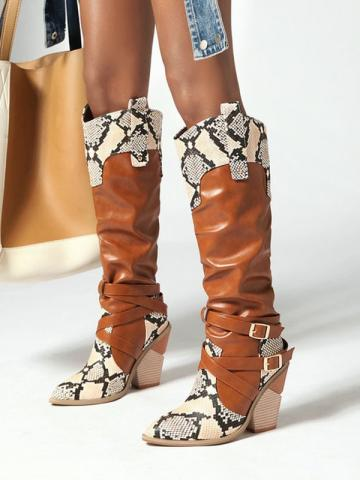 Shoespie Stylish Pointed Toe Slip-On Color Block Buckle Boots