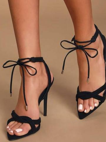 Shoespie Stylish Pointed Toe Stiletto Heel Lace-up Sandals