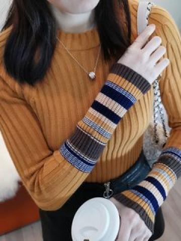 Long-Sleeve Striped Panel Knit Top