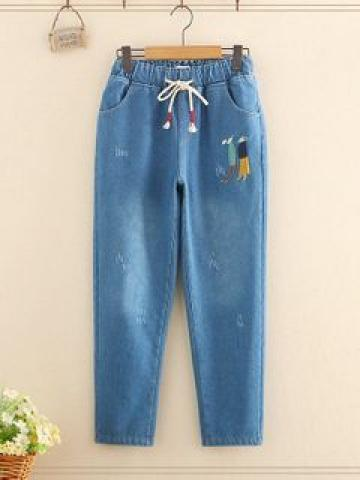 Embroidered Drawstring Fleece-Lined Jeans