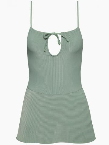 Harmony Ribbed Front Tie Skirted One Piece Swimsuit - Sage Green