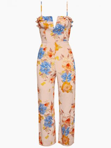 Parker Ruffle V Wire Jumpsuit - Peony Dreams Floral Print