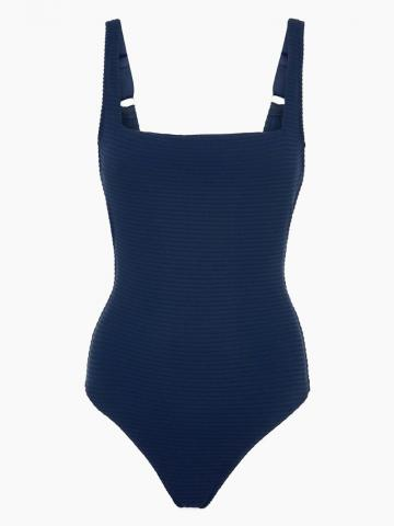Lace Back One Piece Swimsuit - Navy Blue